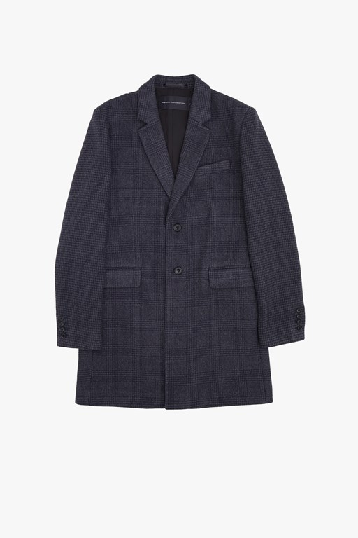 pattern wool two button coat