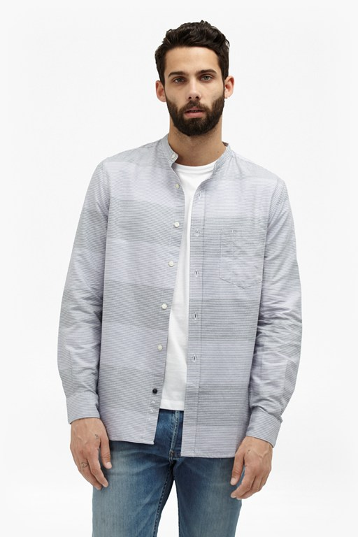 Complete the Look Foidolite Stripe Grandad Collar Shirt
