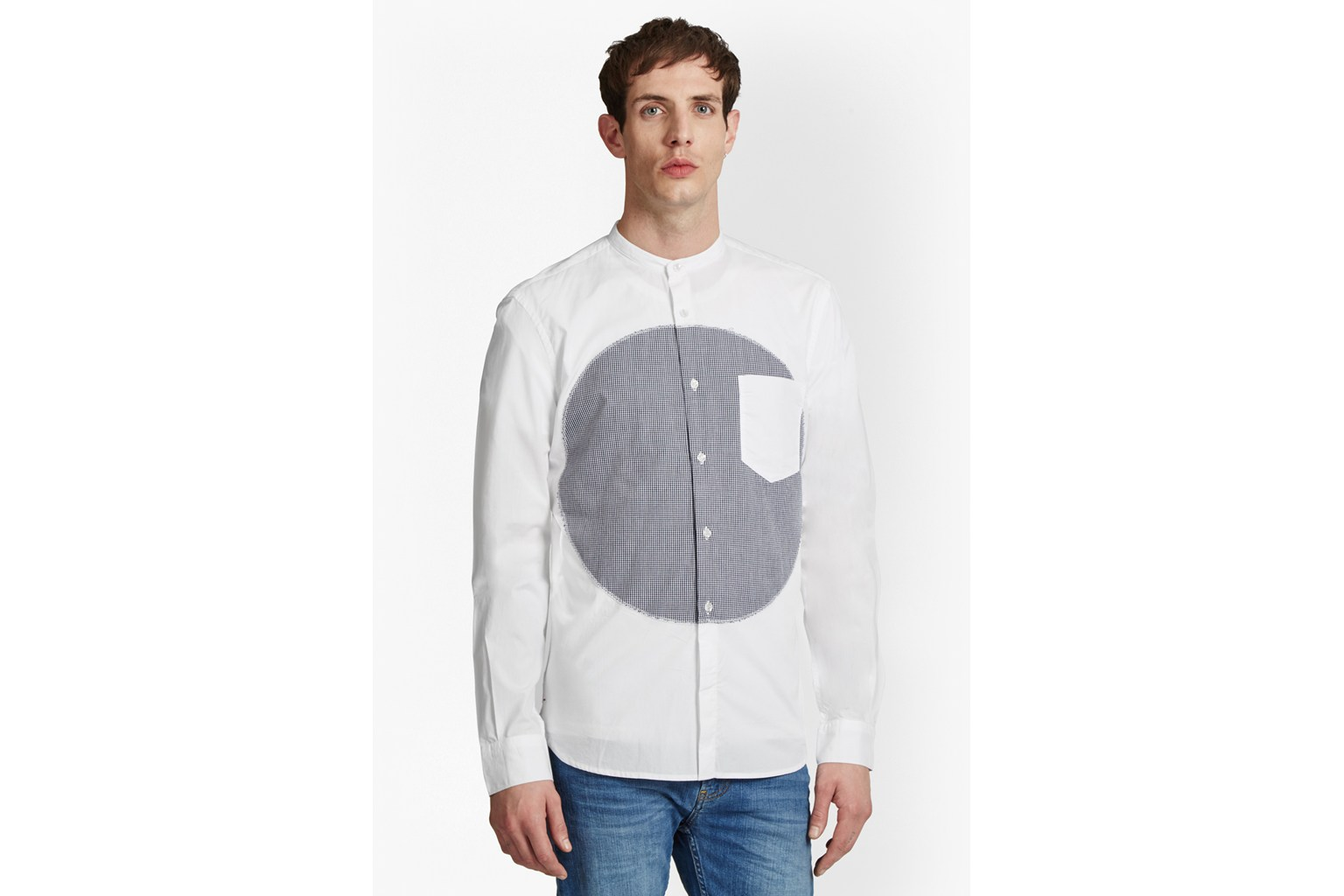 Spot Patch Grandad Collar Shirt
