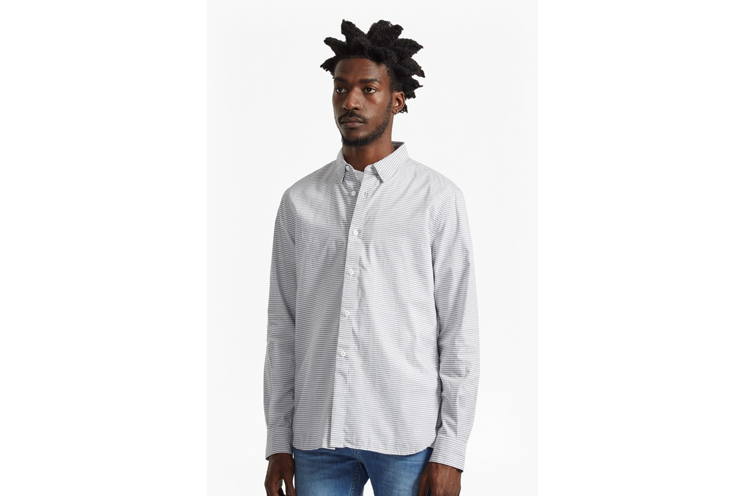 Horizontal Oxford Peached Striped Shirt