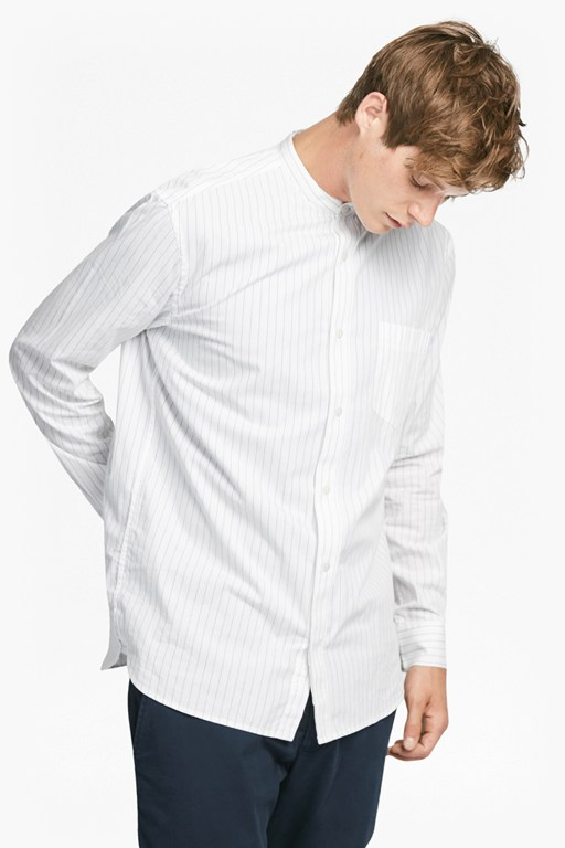 sculpture stripe peached cotton shirt