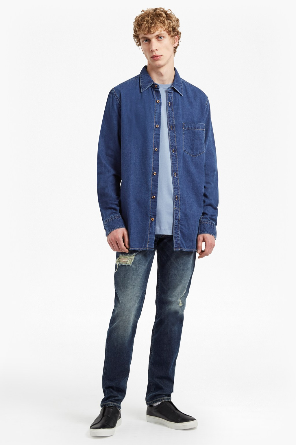 Dobby Denim Longline Shirt