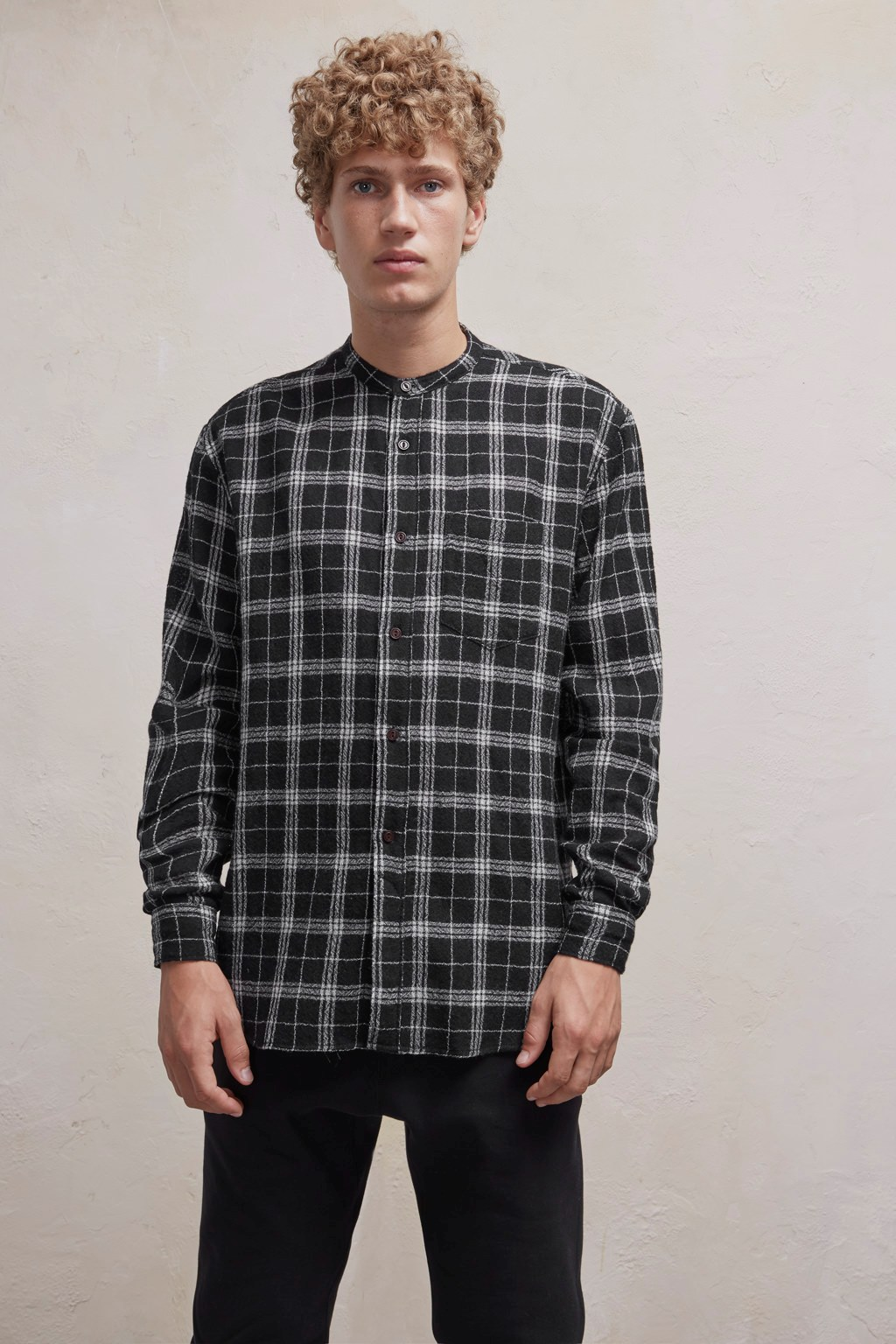 Worsted Checked Wool Shirt
