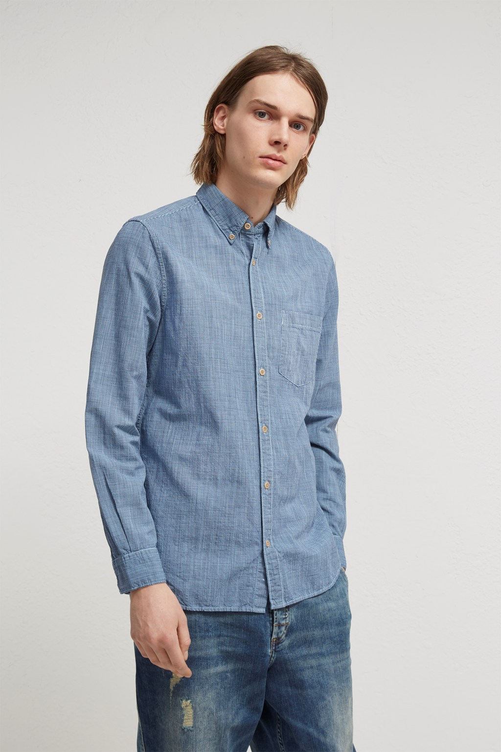 7554a9dbbf8 Linen Gingham Overdyed Shirt | Mens Sale | French Connection Usa