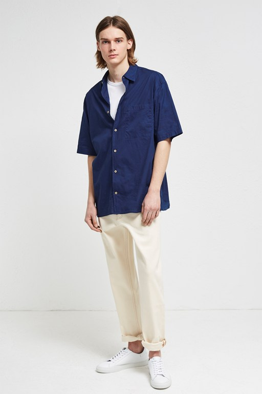 indigo overwashed short sleeve shirt