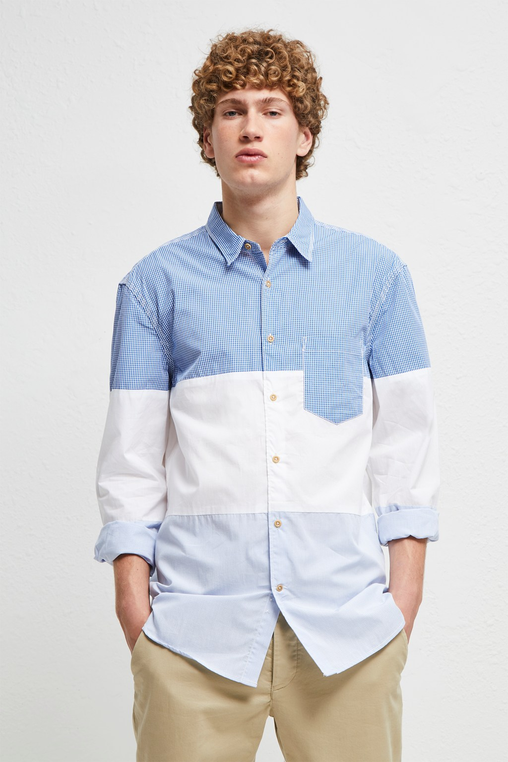 Horizontal Cut Panels Shirt