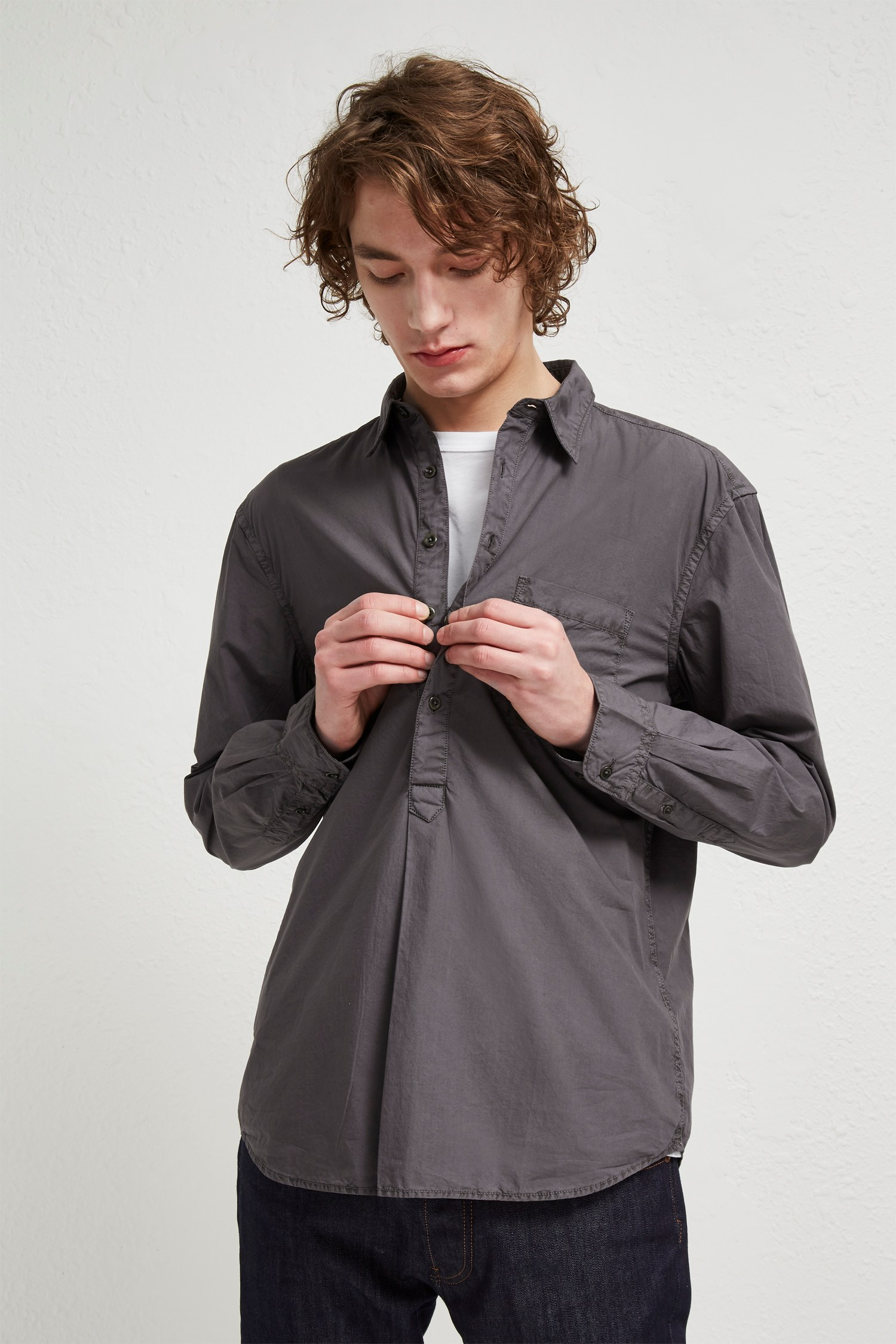 Garment Dye Poplin Popover Collared Shirt
