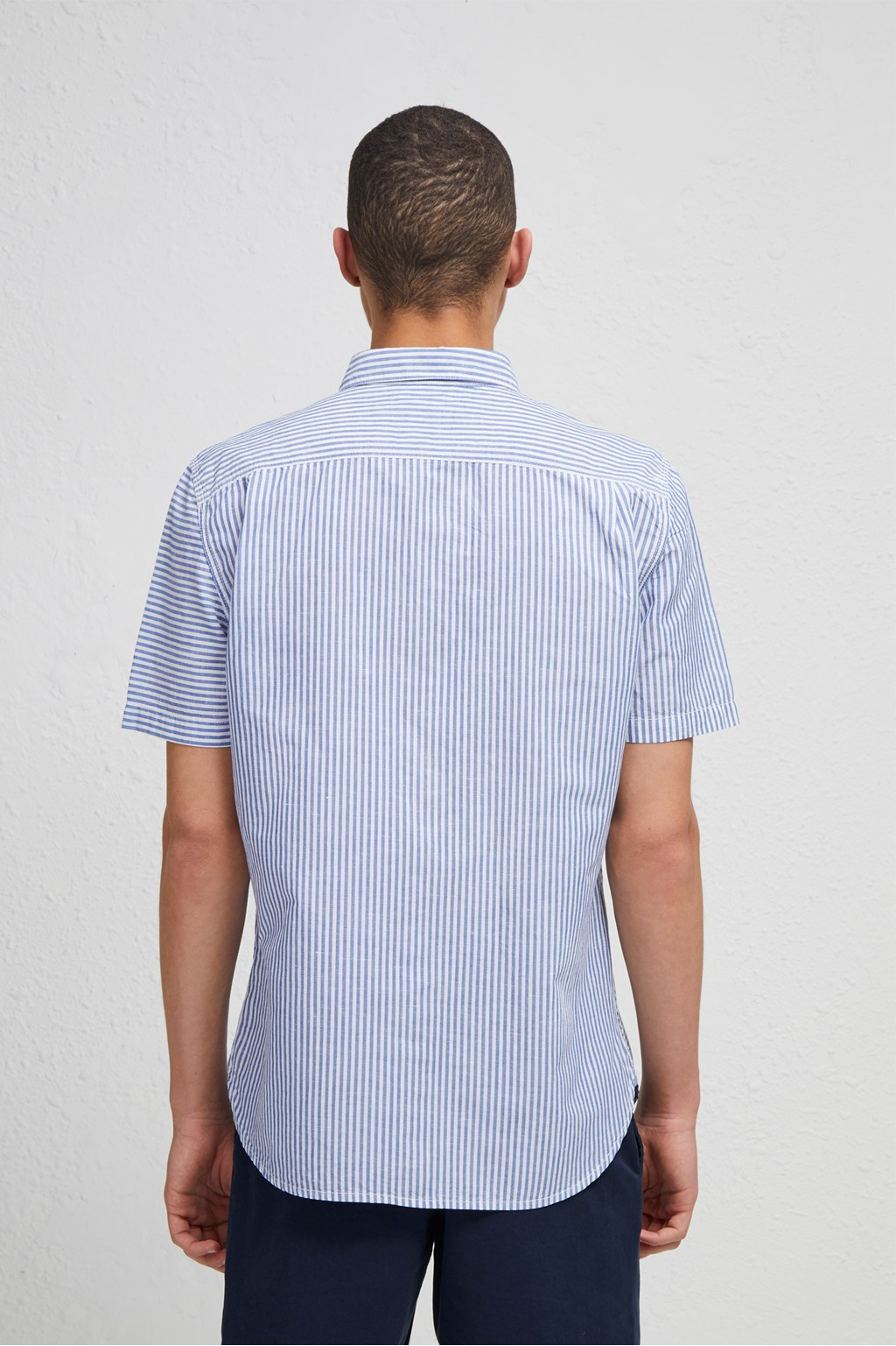 a7792aeeac Cotton Linen Chambray Stripe Shirt | Work Clothes | French ...