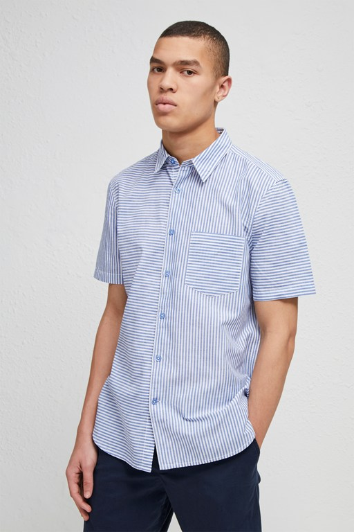 cotton linen chambray stripe shirt