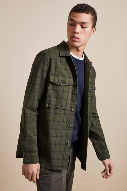 yarn dyed twill overcheck shacket