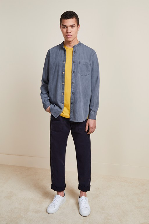 monochrome grandad collar denim shirt