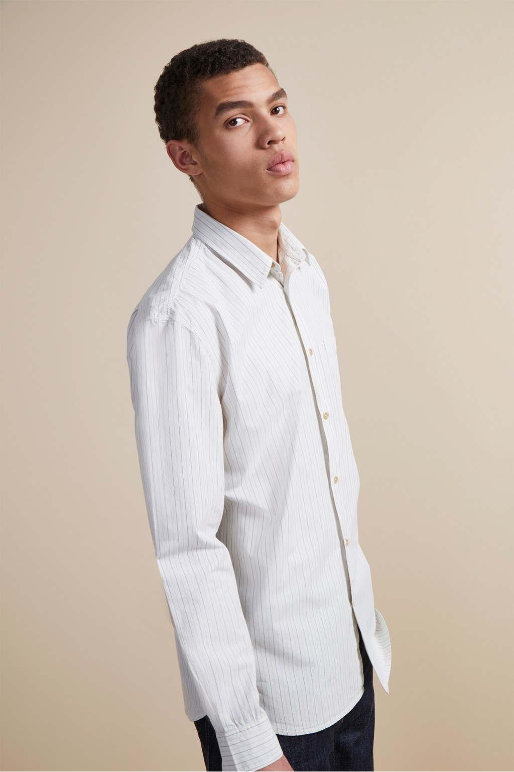 Core Peach Cotton Shirt Collarless Shirts French Connection Usa