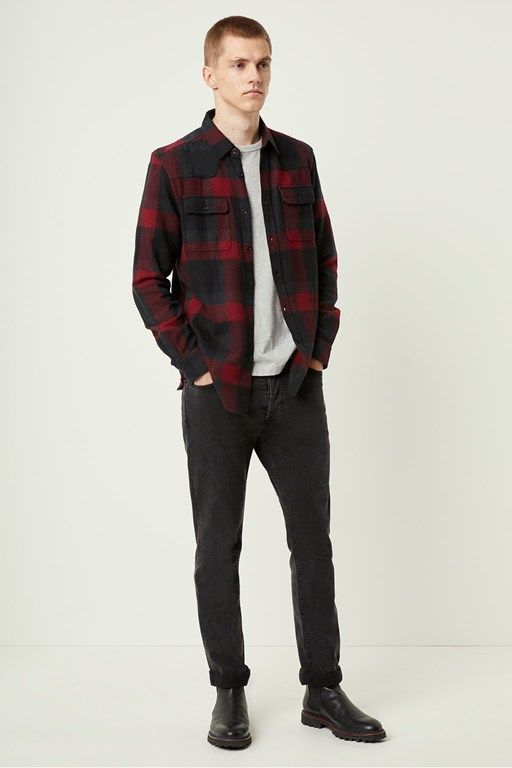 dotted flannel check shirt