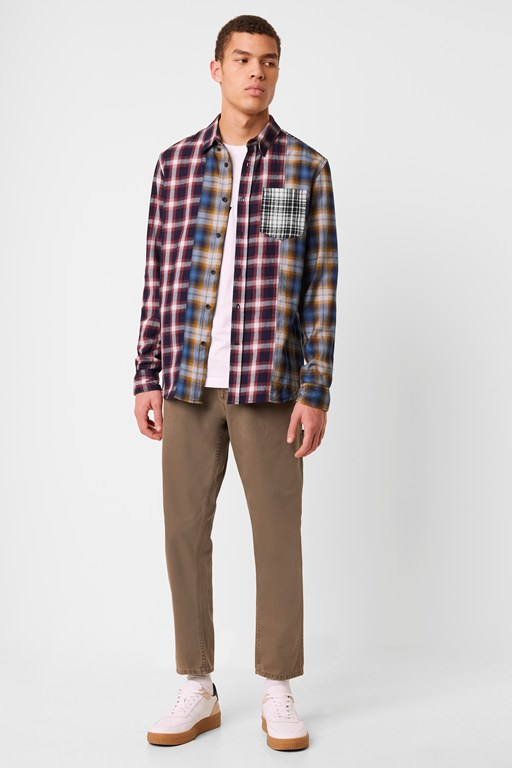 contrast check panel shirt