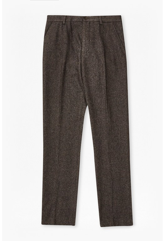 Washed Herringbone Tweed Trousers