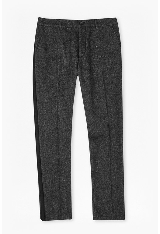 Washed Herringbone Tweed Pants