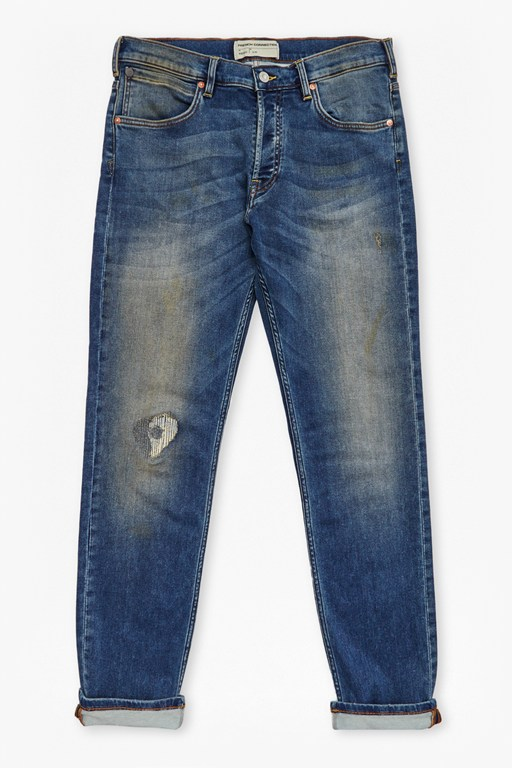 Plaited Stretch Distressed Straight Leg Jeans