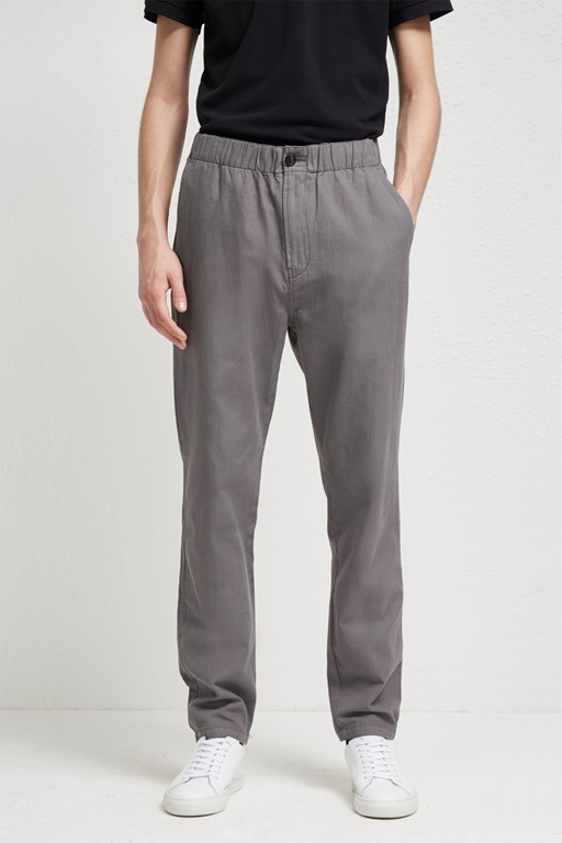 relaxed cotton linen drawstring trousers