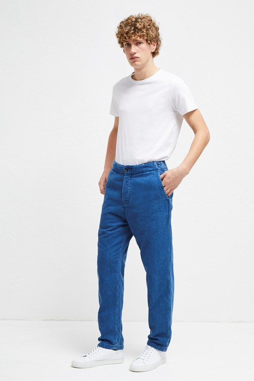 double indigo chambray trousers