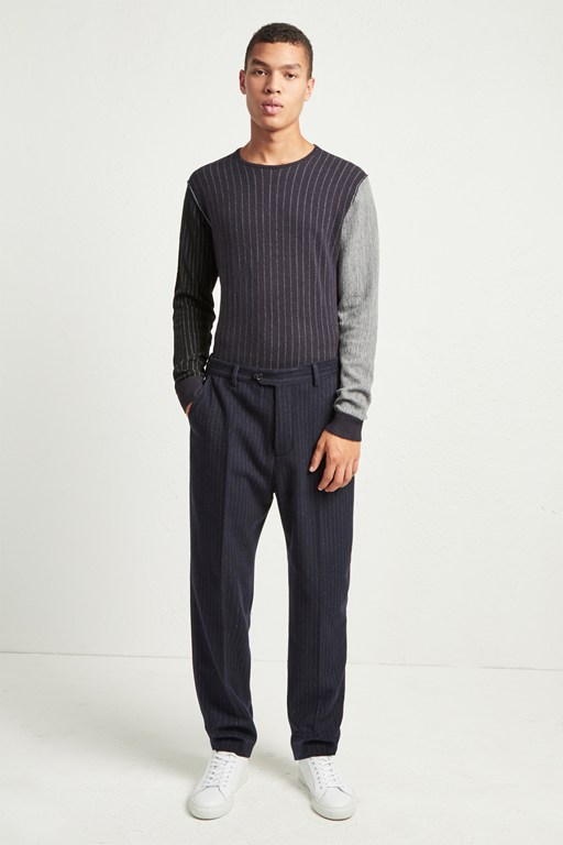 patchwork pinstripe trousers