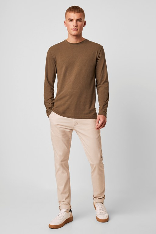 washed cotton slim chinos