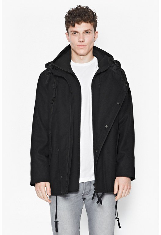 Luxury Melton Hooded Jacket
