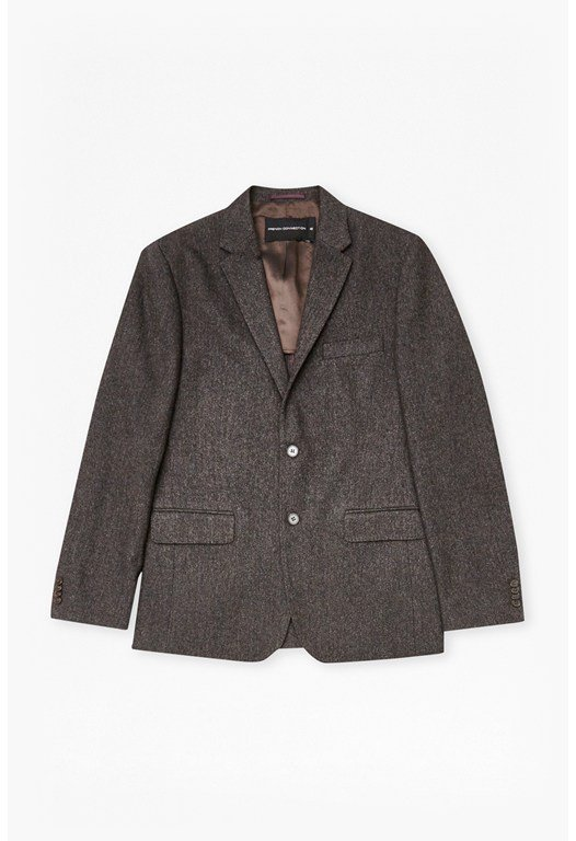 Washed Herringbone Tweed Blazer