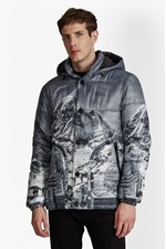 Looks Great With Mountain Pass Print Padded Jacket