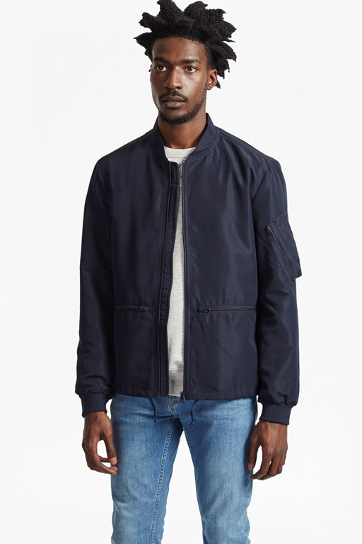Complete the Look Patiala Perforated Bomber Jacket