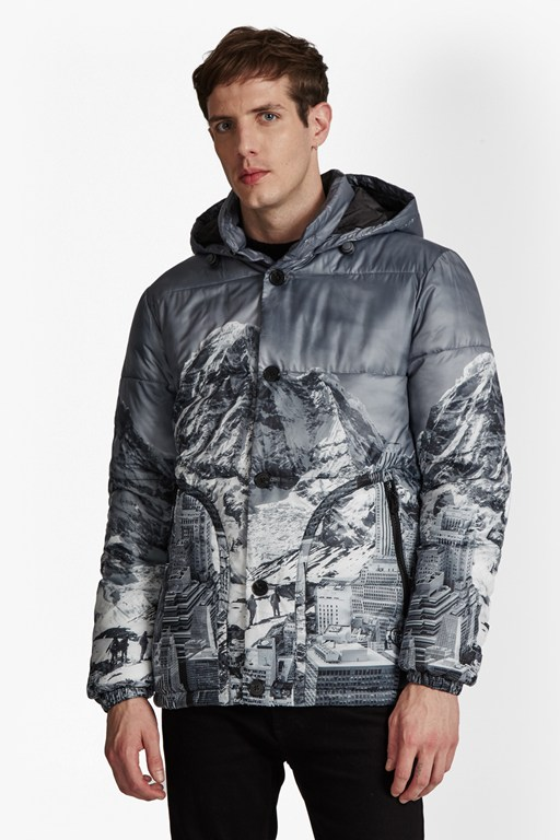 mountain pass print padded jacket