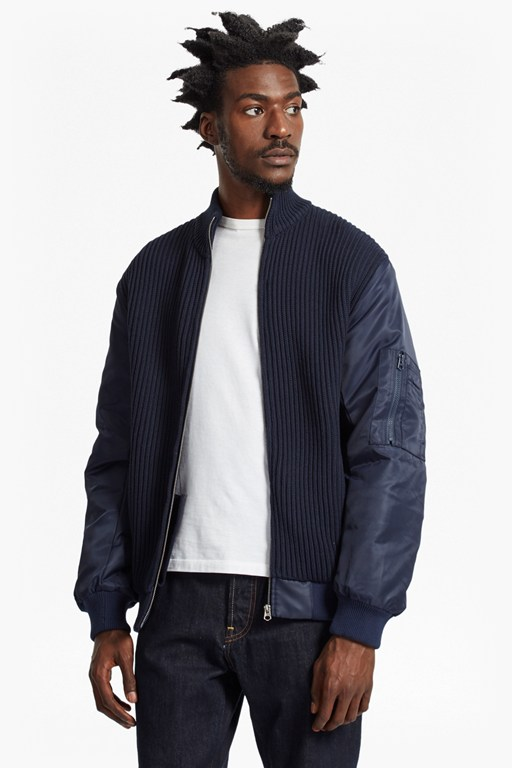 Complete the Look Hybrid Ribbed MA1 Bomber Jacket