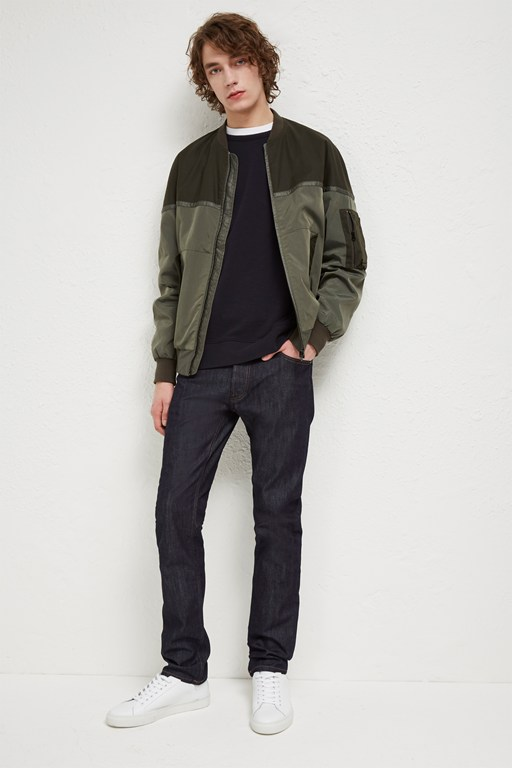 Complete the Look Patchwork Carbon Wax Bomber Jacket
