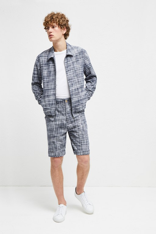 linen chambray gingham harrington jacket
