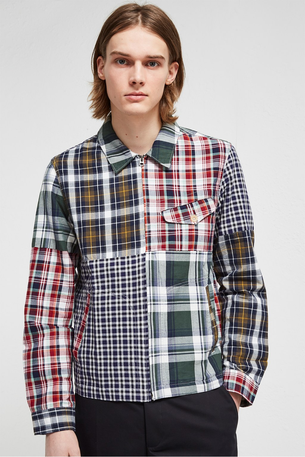 d075d277150 Laundered Oxford Check Patchwork Jacket | Mens Sale | French ...