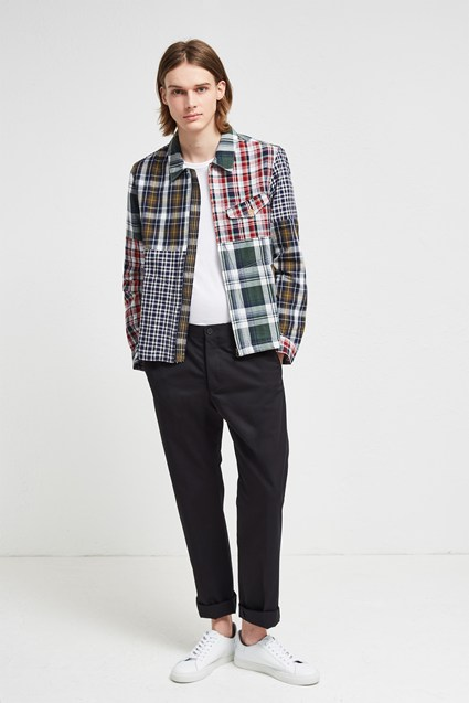 Laundered Oxford Check Patchwork Jacket