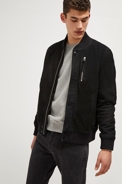 Nubuck Leather Bomber Jacket