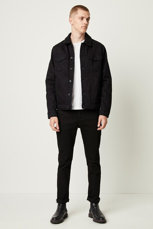 soft black denim jacket