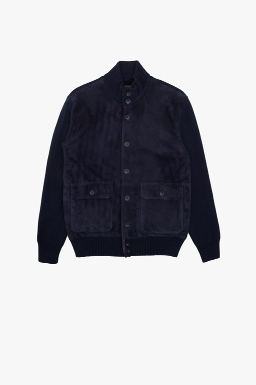 pattern wool zip jacket