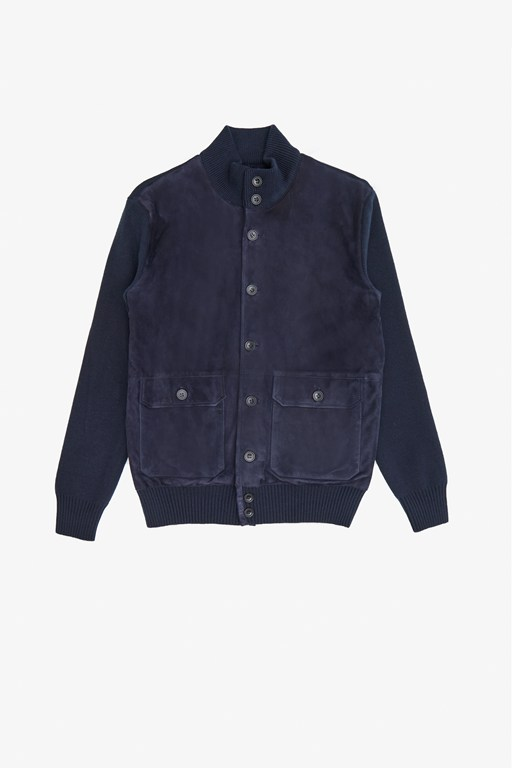 suede knit hybrid jacket