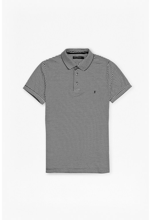 Black Micro Stripe Polo Shirt