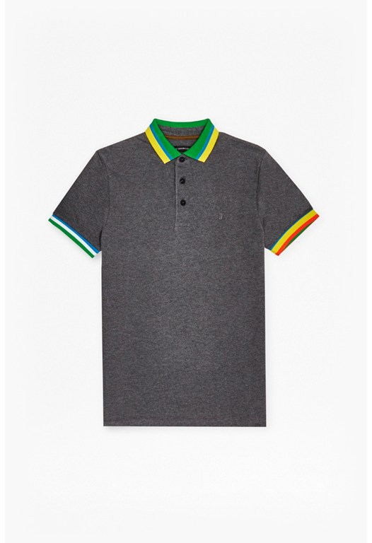 Black Amazon Stripe Polo Shirt