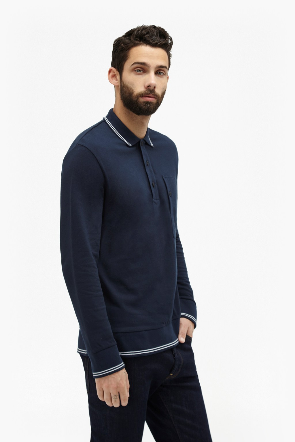 Piston Long Sleeve Polo Shirt Mens Sale French Connection Usa