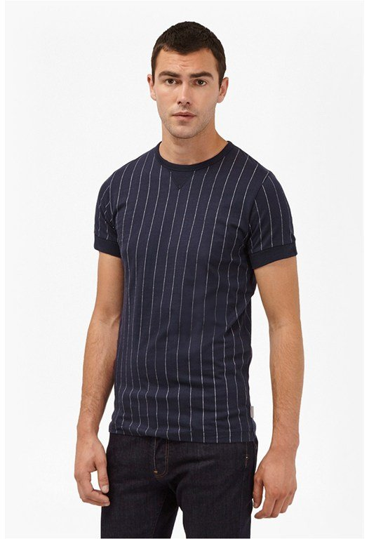 Skyray Stripe Contrast Detail T-Shirt