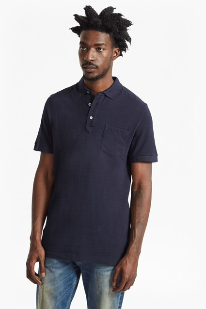 Long Jeans Slub Cotton Polo Shirt
