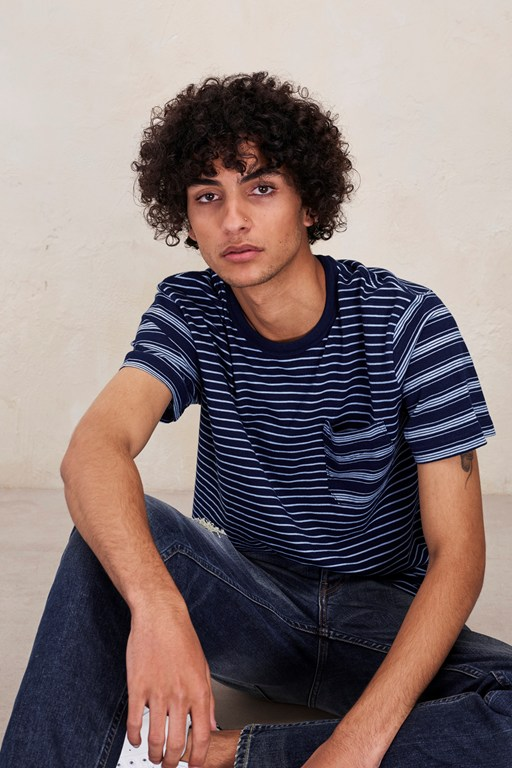 Complete the Look Block Patchwork Indigo Striped T-Shirt