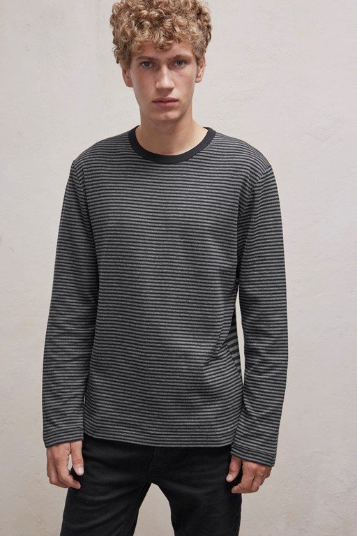 double face alt stripe crew neck top