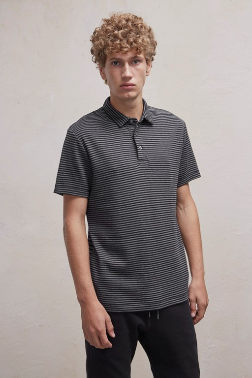 double face alternative stripe polo shirt