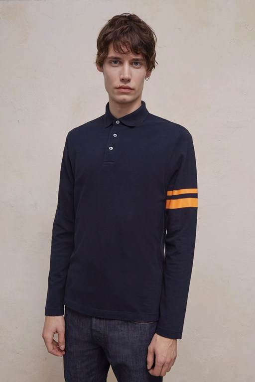 parched pique stripe polo shirt