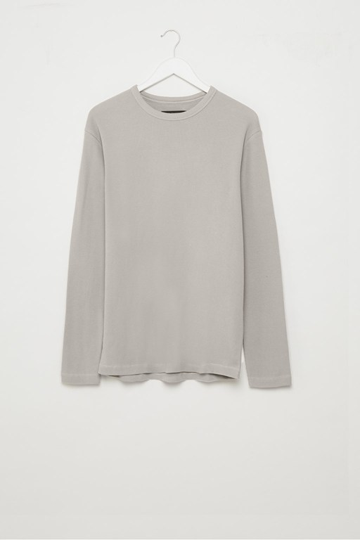 waffle jersey relaxed long sleeve top