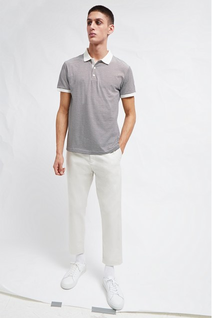 Micro Stripe Jersey Polo Shirt